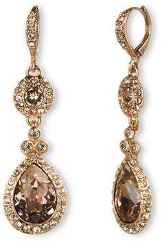 Givenchy Gold Rose Goldtone Swarovski Crystal Teardrop Earrings $48