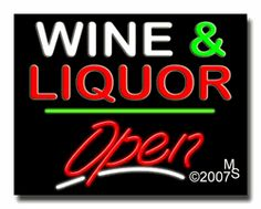 """Wine & Liquor Open Neon Sign - Script Text - 24""""x31""""-ANS1500-6528-3g  31"""" Wide x 24"""" Tall x 3"""" Deep  Sign is mounted on an unbreakable black or clear Lexan backing  Top and bottom protective sides  110 volt U.L. listed transformer fits into a standard outlet  Hanging hardware & chain included  6' Power cord with standard transformer  Includes 2nd transformer for independent OPEN section control  For indoor use only  1 Year Warranty on electrical components."""