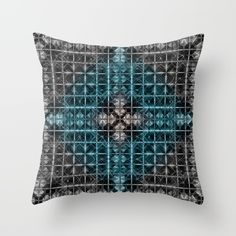 Buy Abstract geometric BG Throw Pillow by VanessaGF. Worldwide shipping available at Society6.com. Just one of millions of high quality products available.   #geometric,  #abstract,  #pattern,  #squares,  #triangles,   #black,  #grey,  #blue,  #pillow,