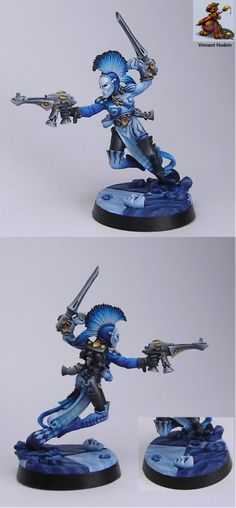 Eldar Harlequin in blue by Vincent Hudson - won Silver at Golden Daemon Canada 2008