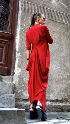 NEW Maxi Dress  Asymmetric Kaftan / Long Dress / Rich Cherry  Red  / Loose 3/4 Sleeve Kaftan A03264