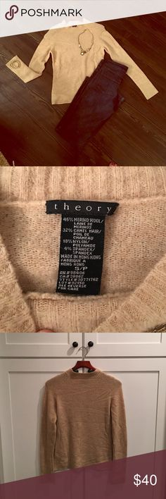 theory Tan Merino Wool Camel Hair Sweater theory Tan Merino Wool Camel Hair Crew Neck Sweater.  Size Small. Very cozy and soft sweater. Used condition but no rips or stains.  Make me an offer! Theory Sweaters Crew & Scoop Necks