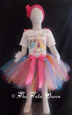 Disney Princesses Birthday Outfit - 3 PIECE SET - Tutu, Shirt/Onesie, Headband. $28.99, via Etsy.
