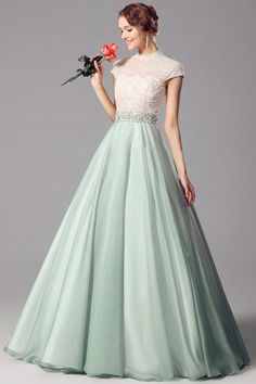 Applique Chiffon High Neck A-line 2015 Prom Dress