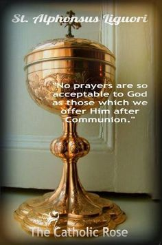"""""""No prayers are so acceptable to God as those which we offer Him after Communion"""" --St. Catholic Mass, Catholic Religion, Catholic Quotes, Catholic Prayers, Catholic Saints, Roman Catholic, Religious Quotes, True Faith, Faith In Love"""