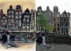 Afbeeldingsresultaat voor anton pieck huisjes Anton Pieck, Amsterdam Art, Big Ben, Street View, Building, Travel, Vintage, Kunst, Viajes