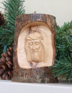 EarthwoodLLC Olive Wood Bark with Christ's Face Carved Ornament Tree Carving, Wood Carving Art, Wood Carvings, Candy Cane Christmas Tree, Christmas Ornament Sets, Jewel Star, Harry Potter Sorting Hat, Wood Bark, Wood