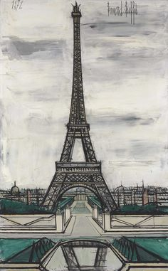 View La Tour Eiffel, vue du Trocadéro By Bernard Buffet; oil on canvas; Access more artwork lots and estimated & realized auction prices on MutualArt. Saint Tropez, Eiffel Tower Painting, Paris Love, Paris Art, Impressionist Art, Famous Places, Illustrations, Famous Artists, Modern Art