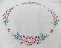 Vintage embroidered tablecloth cream with by PeonyandThistle