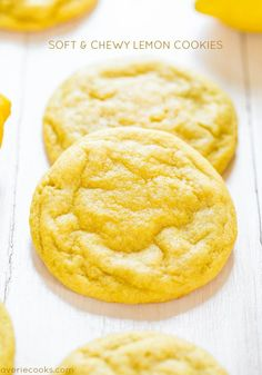 Soft and Chewy Lemon Cookies - Packed with big, bold lemon flavor for all you lemon lovers! They're soft, chewy and not at all cakey!---This page has other lemon recipes Köstliche Desserts, Delicious Desserts, Dessert Recipes, Yummy Food, Easy Lemon Desserts, Easter Desserts, Health Desserts, Plated Desserts, Lemon Recipes