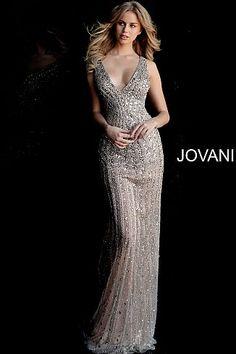 85b818e7 Silver Nude Embellished V Neck Open Back Prom Dress 67280