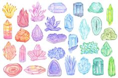 Drawing On Creativity Watercolor crystals, minerals, gems by Just_create on Creative Market Kunst Inspo, Art Inspo, Painting Inspiration, Watercolor Pattern, Watercolor Art, Crystal Drawing, Illustration, Aesthetic Stickers, Crystals Minerals