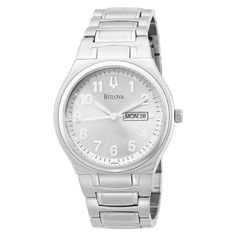 Bulova Mens 96C000 Day and Date Bracelet Watch >>> Want additional info? Click on the image.