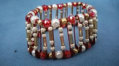 Valentine red white gold pearl Bead bracelet,stretch bracelet,pin bracelet by dawnsbeadsdesigns. Explore more products on http://dawnsbeadsdesigns.etsy.com