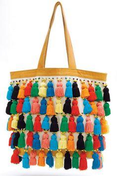 colorful tassel bag. nice diy idea.