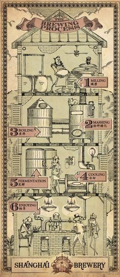 Shanghai Brewery - The Brewing Process. Would be cool to have a commercial gravity brewing system. Beer Brewery, Home Brewing Beer, Beer Brewing Process, Home Brewery, Burger Bar, Beer Making Process, Beer Infographic, Infographics, Brewery Design