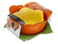 Yellow/Orange/Green 3-pc. Garden Series Rose Colander Drip Bowl Set by Zak! Designs at Cooking.com