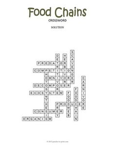 Food Chain Crossword Puzzle Vocabulary Words Food Chain Crossword Puzzle
