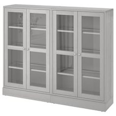 HAVSTA Glass-door cabinet with base - gray, clear glass - IKEA Glass Cabinet Doors, Sliding Glass Door, Sliding Doors, Glass Doors, Scandinavian Furniture, Scandinavian Design, Solid Pine, Solid Wood, Frame Shelf