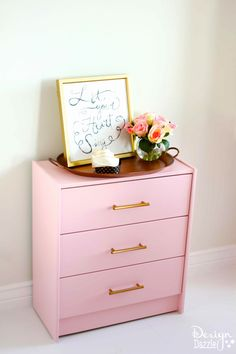 Ikea Rast Hack: Dresser turned Ribbon Organizer. Create your own Ikea Rast hack using PPG Voice of Color and hickory hardware.