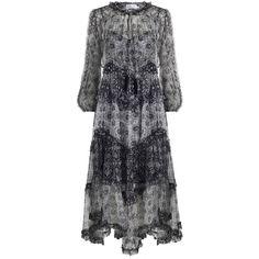 ZIMMERMANN Divinity Ruffle Resort Dress ($940) ❤ liked on Polyvore featuring dresses, blue jersey, blue midi dress, midi dress, floral summer dresses and flower print dress