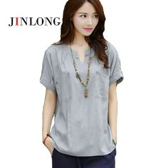 JINLONG Women Casual 2017 summer style Short Sleeve Loose Cotton Linen Top shirt  V-Neck Plus Size  XXXL blouse with Pockets  #Affiliate