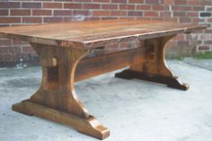 Hour Glass Trestle Table For Sale Trestle Dining Tables, Wood Tables, Side Tables, Hardwood Table, Diy Farmhouse Table, Wood Furniture, Furniture Ideas, Modern Furniture, Furniture Design