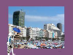 Umbrellas on the beach. Playa de Las Canteras. Gran Canaria.