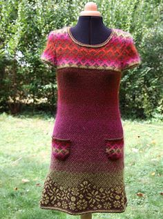 I knit this dress to use all the single skein of Mohair I had.