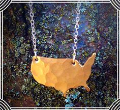 Lived so many places that you don't want to nail down just one? This hand forged bronze and sterling silver necklace is perfect for you!! #america #madeinusa #merrybethmyrickdesigns