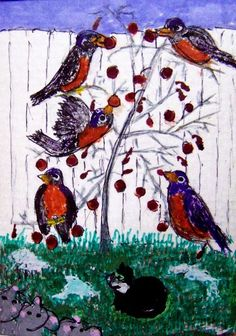 ACEO TW JAN Robins - Winter Thaw birds mice cat Original Whimsical cartoon #Whimsical