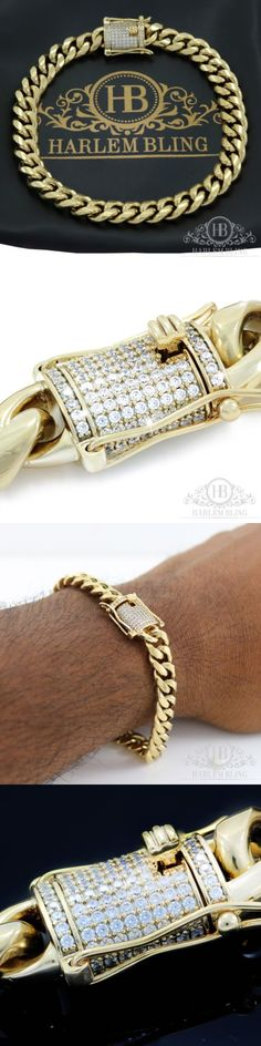Bracelets 137835: Men Cuban Miami Link Bracelet Stainless 14K Gold Plated 8Mm *1Ct Diamond Clasp* -> BUY IT NOW ONLY: $35.99 on eBay!
