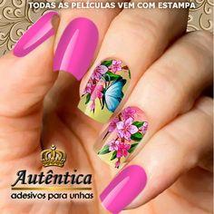 Adesivo de Unha no Elo7 | Autêntica Adesivos para Unhas (8DC45A) Acrylic Nail Designs, Nail Art Designs, Acrylic Nails, Manicure, Summer Nails, How To Make, Beauty, Ideas, Stylish Nails