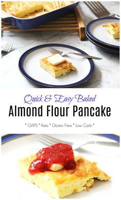Baked Sourdough Almond Flour Pancake (Keto, Grain Free, GAPS friendly) - Health, Home, & Happiness Almond Flour Pancakes, Baked Pancakes, Candida Diet, Gaps Diet, Diet And Nutrition, Nutrition Plans, Breakfast Time, Breakfast Ideas, Keto Waffle