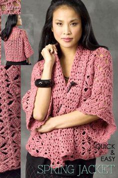 DiaryofaCreativeFanatic - crochet kimono spring jacket free pdf link to pattern ༺✿ƬⱤღ✿༻ Crochet Coat, Crochet Jacket, Crochet Cardigan, Love Crochet, Crochet Scarves, Irish Crochet, Crochet Shawl, Crochet Clothes, Easy Crochet
