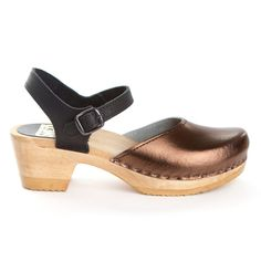 Two Tone Metallic Clog Bronze I