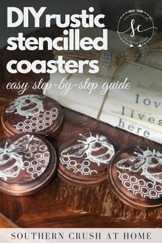 Use these rustic stencilled coasters as functional decor in any living room! Follow my step-by-step tutorial for a quick and easy DIY. Rustic Coasters, Diy Coasters, Decorating Your Home, Decorating Ideas, Decor Ideas, Diy Home Decor Projects, Fun Projects, Simple Diy, Easy Diy