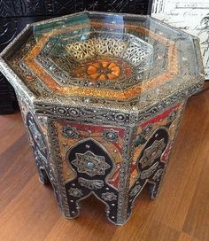 Moroccan Octagonal Accent Table Vintage Henna Leather U0026 Camel Bone Carved  Metal