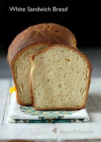 White Sandwich Bread. Vegan Recipe by Vegan Richa