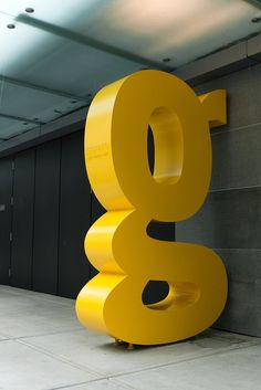 Big Yellow Trade Gothic 'g'    This reminds me of the Ivan Chermayeff 9  in new York (but obviously on a smaller scale) It was created f