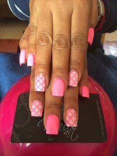 Nails art, acrylic nails, pink nails
