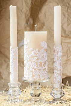 Caramel & lace wedding unity candles rustic by RusticBeachChic