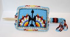 HAND CRAFTED CUT BEADED WATERBIRD DESIGN NATIVE AMERICAN INDIAN BARRETTE W/STICK
