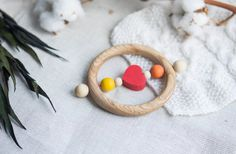 Organic Wooden Teether. Organic Wooden Rattle Toy. Birch teething Toy. Natural Wooden Toy. Heart rattle.  Eco Friendly.
