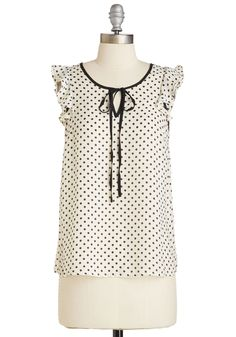 Show and Belle Top. When asked about your staple style secrets, youre enthralled to divulge the details of this flirty dotted blouse! #white #modcloth