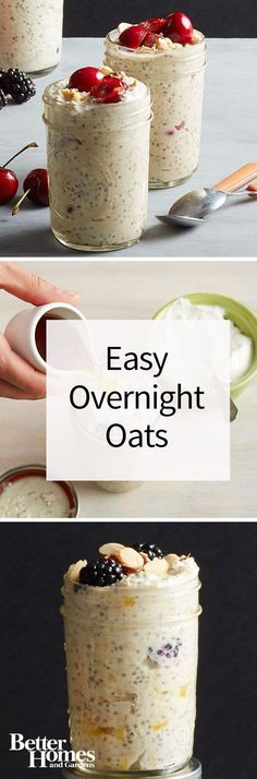 A delicious and healthy breakfast you can make the night before? Count me in! These easy overnight oats are also known as refrigerator oatmeal or chia pudding, but whatever you call them, they're yummy! Try with fresh or dried fruit, nuts, granola, peanut butter, honey, chocolate chips, chia seeds, flax seeds, or even espresso coffee powder!