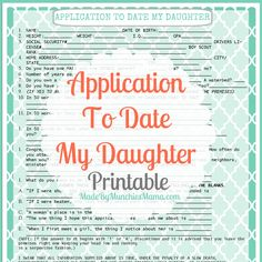 Application to date my daughter.....AND SON!!! YES!!!!!!!!!