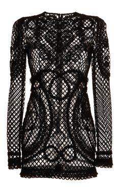 Nero Netted dentelle à manches longues Robe par Dolce & Gabbana pour Précommande Moda Operandi