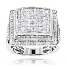 Mens Rings 14K Mens Diamond Ring Princess Cut Round 6ct