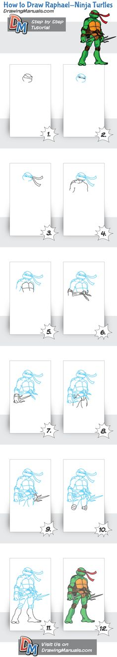 How to Draw Raphael from Ninja Turtles Step-by-Step